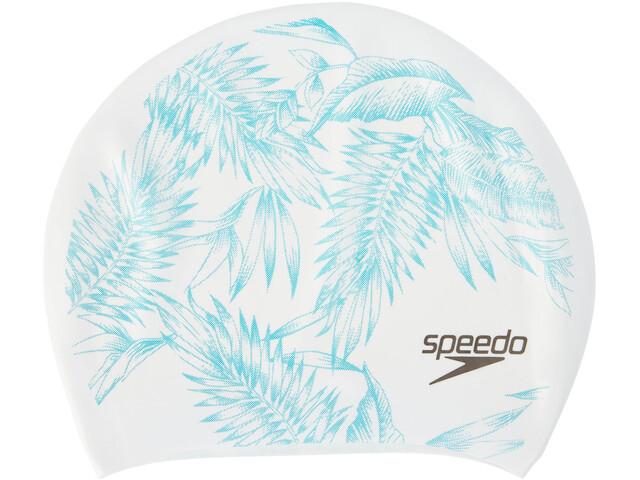 speedo Long Hair Printed Badehætte hvid/turkis